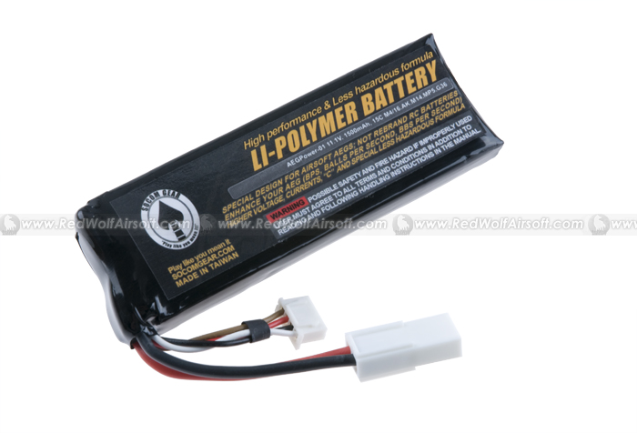 Socom Gear 11.1V. 1500mAh. Li Po Battery ( 15C M4/16, AK, M14, MP5, Model 36 Series) <font color=yellow>(Clearance)</font>