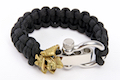 Airsoft Surgeon Samurai Paracord Bracelet (Gold Emblem, Silver Buckle, Black Cord)