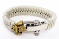 Airsoft Surgeon Samurai Paracord Bracelet (Gold Emblem, Silver Buckle, Frost Grey Cord)
