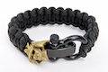 Airsoft Surgeon Samurai Paracord Bracelet (Gold Emblem, Black Buckle, Black Cord)