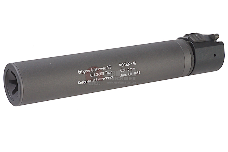 ASG ROTEX - III Barrel Extension Tube and Flash Hider - 225mm Length 14mm CCW Grey (Licensed by B&T)