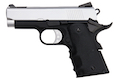 AW Custom NE10 Series 1911 Officer Size Gas Blowback Pistol - Silver Slide / Black Frame