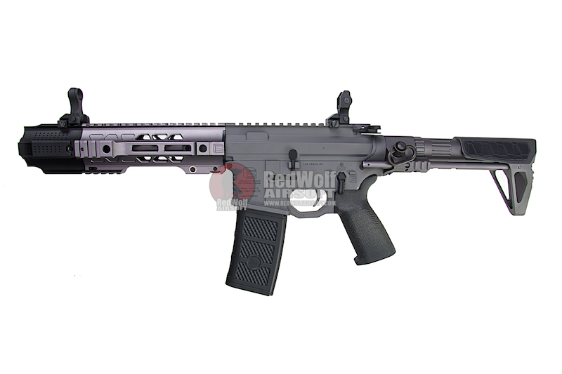 EMG Salient Arms Licensed GRY AR15 (M4) CQB AEG with PDW Stock - Gray (by G&P)