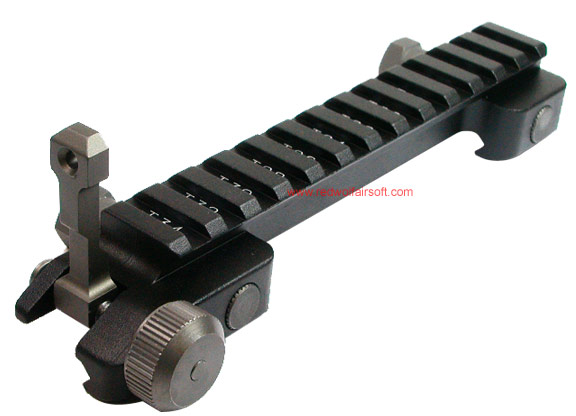 G&G S.R.R. Scope Ring Riser W/FLIP Rear Sight for Flat Top Upper Receiver <font color=yellow>(Clearance)</font>