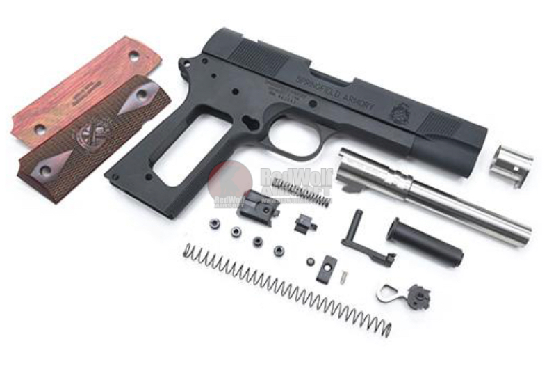 Guarder Aluminum Slide & Frame Kit for Tokyo Marui MEU .45 GBB Series (Wooden Grip Panel ) - Black