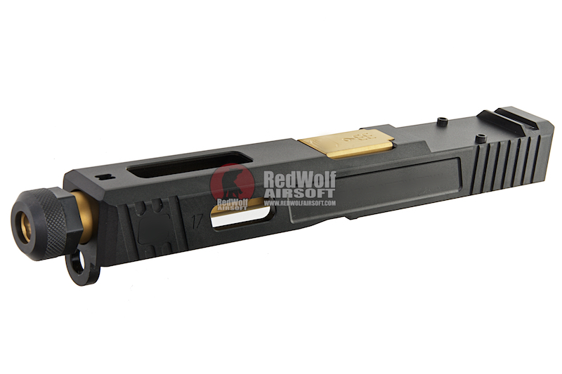 Guns Modify CNC SA Aluminum Slide Set for Tokyo Marui G17 GBB (RMR Cut) - Gold Outer Barrel