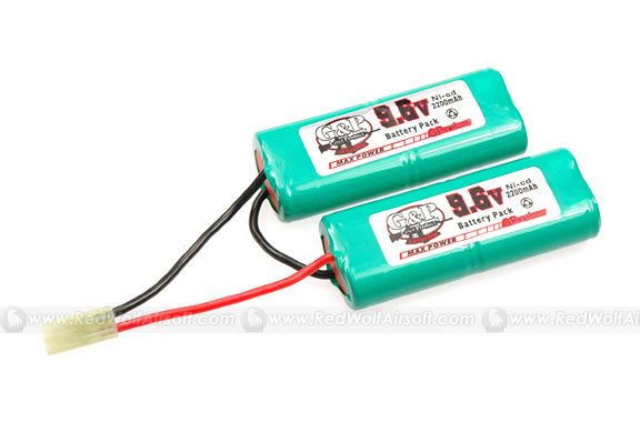 G&P 9.6V 2200mah Battery (NiCD) - V-Type for Modified Foregrip MP5 SD / M4A1/ ICS PEQ / M733 / GR300