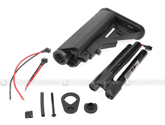 G&P M4A1 Extended Battery CRANE Buttstock with 10.8v Battery (Black) <font color=red>(Clearance)</font>