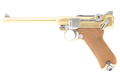 WE Luger P08 6 inch GBB Pistol (Gold)