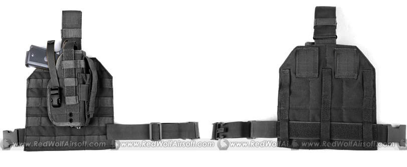 PANTAC Molle Style Leg Panel with Holster (Black/ CORDURA)
