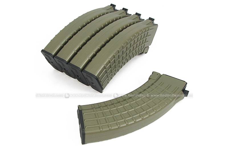 King Arms 70rds Waffle Mag for Tokyo Marui AK Series Box Set 5pcs (Dark Earth) <font color=yellow>(Clearance)</font>