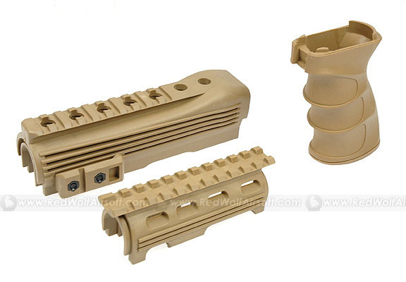 King Arms AK47S Railed handguard with Grip (Tan)