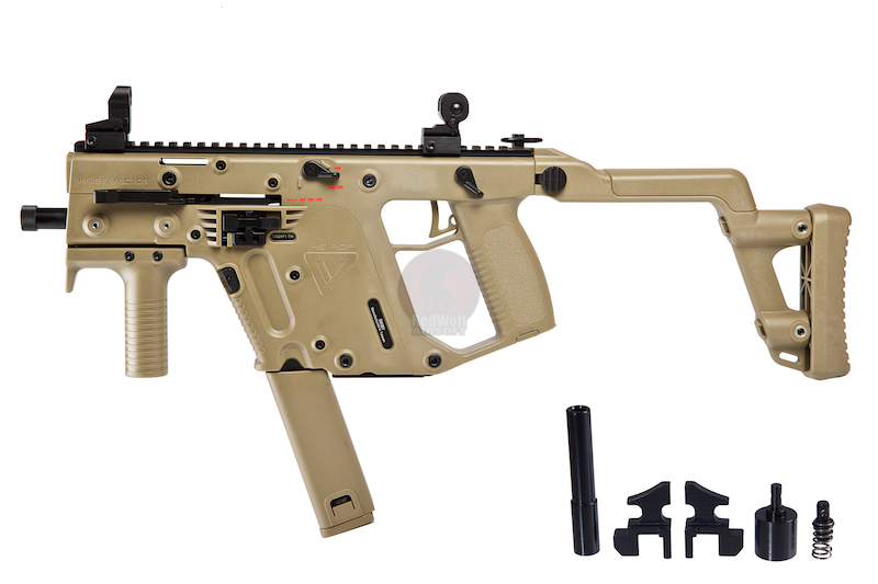 KWA Kriss Vector GBB with Hephaestus Power Recoil Kit 2 magazines Package - TAN