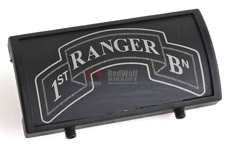 Custom Gun Rails (CGR) Aluminum Rail Cover (1ST Ranger Battalion Scroll, Large Laser Engraved Aluminum) - BK Retainer