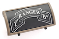 Custom Gun Rails (CGR) Aluminum Rail Cover (1ST Ranger Battalion Scroll, Large Laser Engraved Aluminum) - FDE Retainer <font color=yellow>(Clearance)</font>