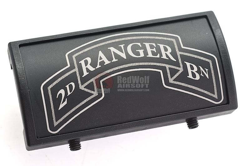 Custom Gun Rails (CGR) Aluminum Rail Cover (2ND Ranger Battalion Scroll, Large Laser Engraved Aluminum) - BK Retainer
