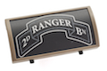 Custom Gun Rails (CGR) Aluminum Rail Cover (2ND Ranger Battalion Scroll, Large Laser Engraved Aluminum) - FDE Retainer <font color=yellow>(Clearance)</font>