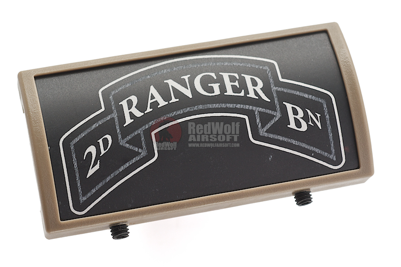 Custom Gun Rails (CGR) Aluminum Rail Cover (2ND Ranger Battalion Scroll, Large Laser Engraved Aluminum) - FDE Retainer