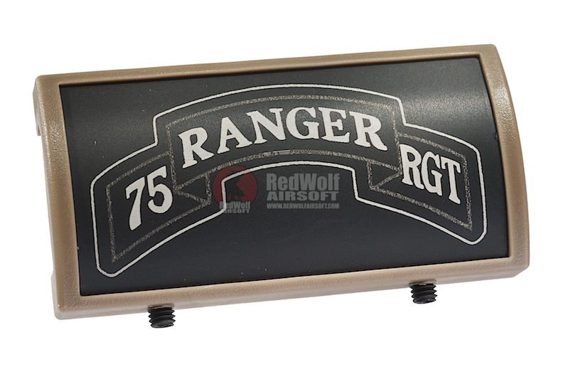 Custom Gun Rails (CGR) Aluminum Rail Cover (75 Ranger Regiment Scroll, Large Laser Engraved Aluminum) - FDE Retainer