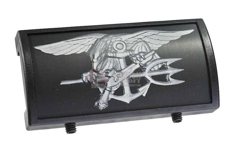 Custom Gun Rails (CGR) Aluminum Rail Cover (U.S. Navy SEAL Trident, Large Laser Engraved Aluminum) - BK Retainer <font color=yellow>(Clearance)</font>
