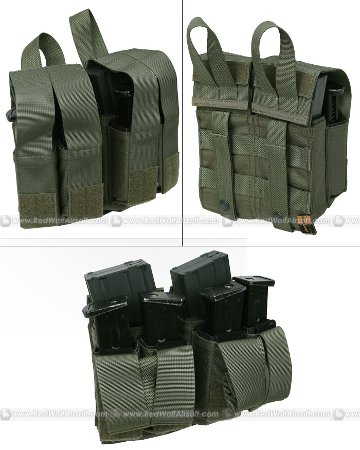 PANTAC Molle M16 Double Mag & 9MM 4-Mag Pouch with Hard Insert (RG / Cordura)