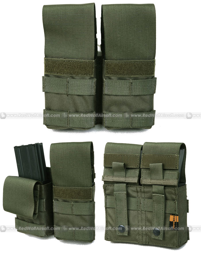 PANTAC Double M4 / M16 Magazine Pouch with Plastic Inserts (RG/ CORDURA)
