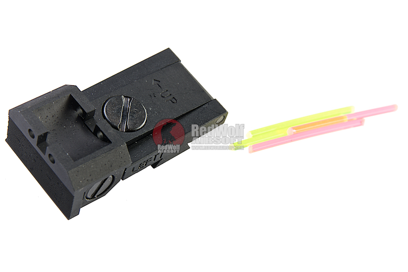 Airsoft Masterpiece Aluminum Rear Sight with Fiber for Tokyo Marui Hi-Capa STI Style GBB