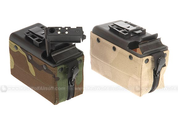 MAG M249 Cartridge Pouch For Shooter / ARES / STAR ( Woodland Camo / Tan) (2000rds)