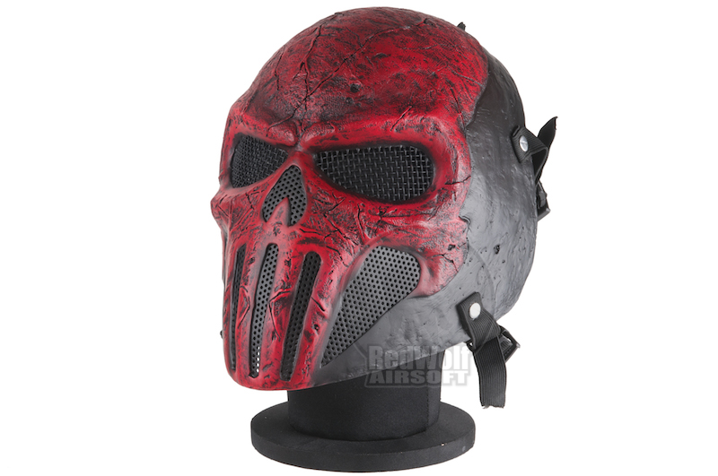 RWL Airsoft Skull Punisher V2 Mask - Red