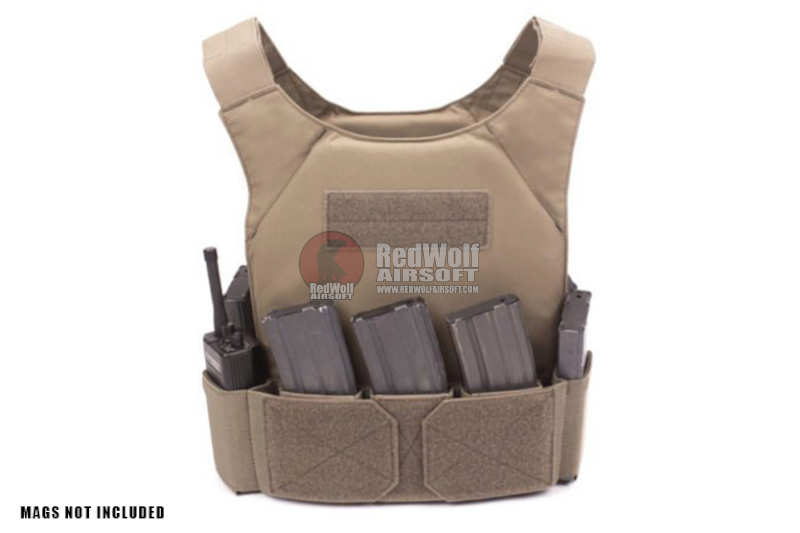Warrior Assault Systems Covert Plate Carrier MK1 with Triple Velcro Mag Pouch - Coyote Tan