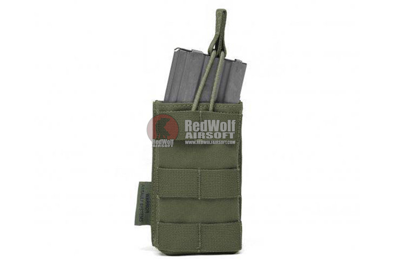 Warrior Assault Systems Single MOLLE Open M4 5.56mm Mag / Bungee Pouch - OD Green