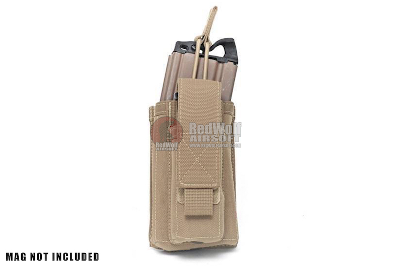Warrior Assault Systems Single Open M4 5.56mm Mag Pouch with 9mm D/A Pistol Mag - Coyote Tan
