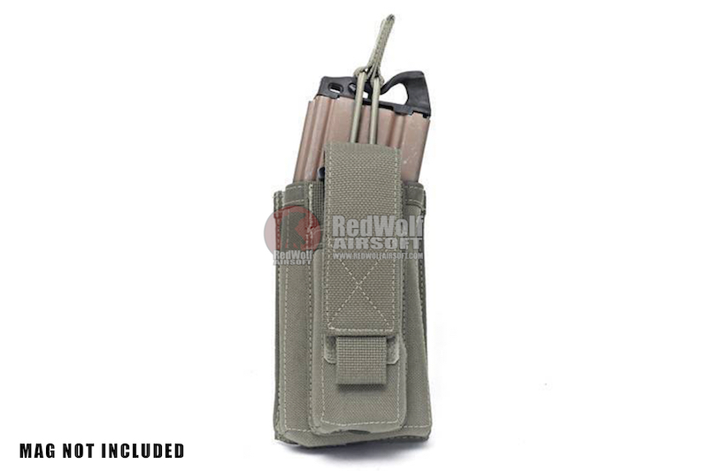Warrior Assault Systems Single Open M4 5.56mm Mag Pouch with 9mm D/A Pistol Mag - Ranger Green