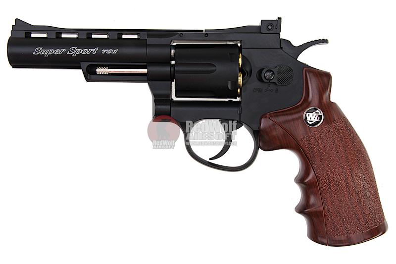 Gun Heaven (WinGun) 701 4 inch 6mm Co2 Revolver (Brown Grip) - Black