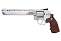 Gun Heaven (WinGun) 703 8 inch 6mm Co2 Revolver (Brown Grip) - Silver
