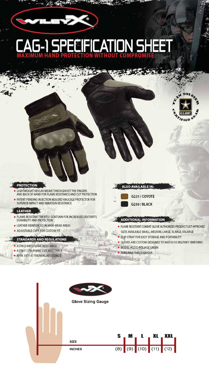 Wiley X CAG-1 Gloves (Small / Foliage Green)