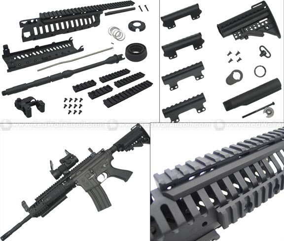 King Arms CASV Handguard Set w. 14.5 Outer Barrel & MOD Stock Set (Black) <font color=red> (Clearance) </font>