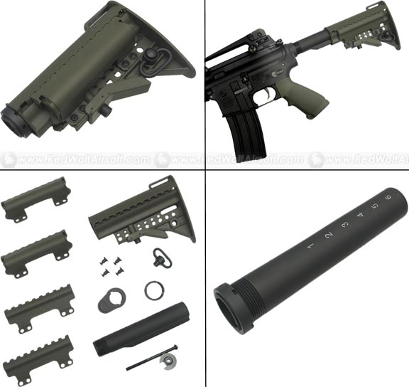 King Arms Carbine MOD Stock for M4 Series ( OD / Pipe With Marking )